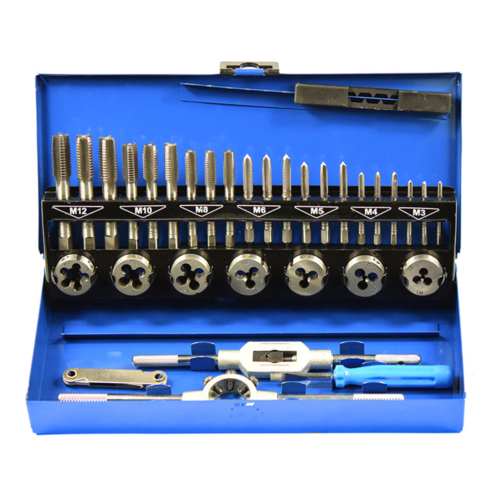 32Pcs Tap And Die Set Wrench M4~M12 Screw Thread Metric Plugs Hand Screw Taps Hand Threading Drill Tool Kit Machinist Automobile