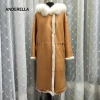 2018 Новое поступление натуральный натуральная шерсть пальто с мехом Зимние женские X длинные Дубленка Натуральная меха лисы с капюшоном Тол