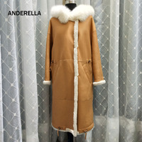 2018 new arrival natural real wool fur coat winter female X long Sheepskin coat genuine fox fur with hooded thick warm clothing