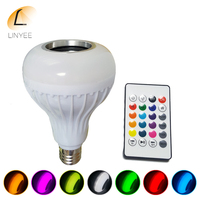 2017 E27 Smart RGBW Wireless Bluetooth Speaker Bulb Music Playing Dimmable 12W LED Bulb Light Lamp