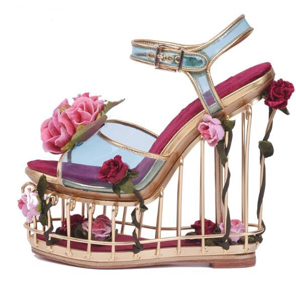 5a76aba1a4ec7 Luxury Woman Caged Heels Platform Wedge Sandal Flower Decorations Cutouts  Gladiator Sandals Party Wedding Dress Shoes