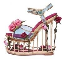 Luxury Woman Caged Heels Platform Wedge Sandal Flower Decorations Cutouts Gladiator Sandals Party Wedding Dress Shoes Peep Toe