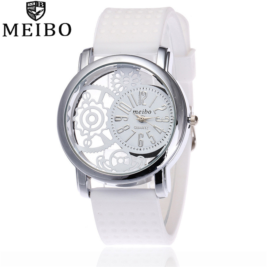 MEIBO Brand Fashion Unisex Silicone Watch Casual Women Hollow Pattern Quartz Watches Relogio Feminino Clock Hot Sale 2087 new fashion unisex women wristwatch quartz watch sports casual silicone reloj gifts relogio feminino clock digital watch orange