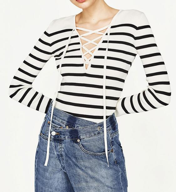 WISHBOP NEW 2017 Woman Fashion Lace-up <font><b>Ribbed</b></font> <font><b>V-neck</b></font> <font><b>sweater</b></font> with bow long sleeves Pullovers Knitted <font><b>Sweaters</b></font>