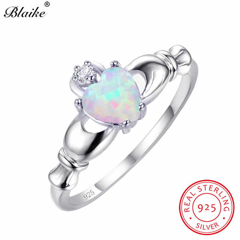 Blaike White Fire Opal Heart Claddagh Rings For Women 100% Real 925 Sterling Silver Wedding Party Ring Birthstone Jewelry Gifts