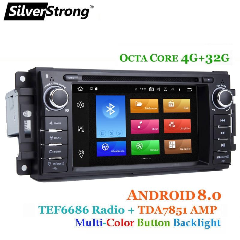 SilverStrong 8 Core 4 + 32g Android8.0 Voiture DVD pour Jeep Cherokee 2009 2008 2010 Wrangler voiture stéréo pour dodge radio pour Chrysler