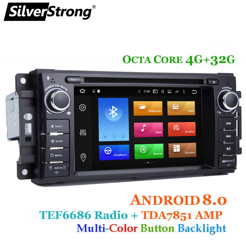 SilverStrong 8Core 4+32G Android8.0 Car DVD for Jeep Cherokee 2009 2008 2010 Wrangler car stereo for Dodge radio for Chrysler