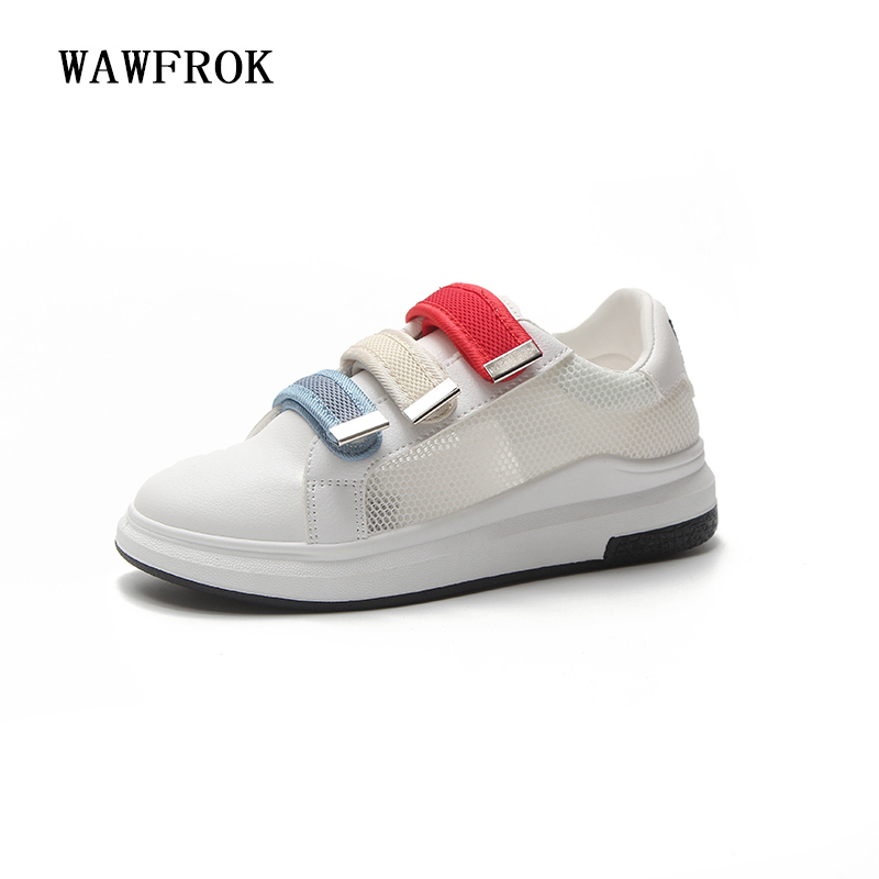 Women Casual Shoes 2018 Spring Summer Mesh+PU Leather Shoes Woman Flats Platform Fashion Lace-Up Breathable Women Sneakers