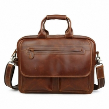 "men's genuine leather 14"" Laptop briefcases Vintage crazy horse leather business handbag shoulder bags messenger bag LI-1324"