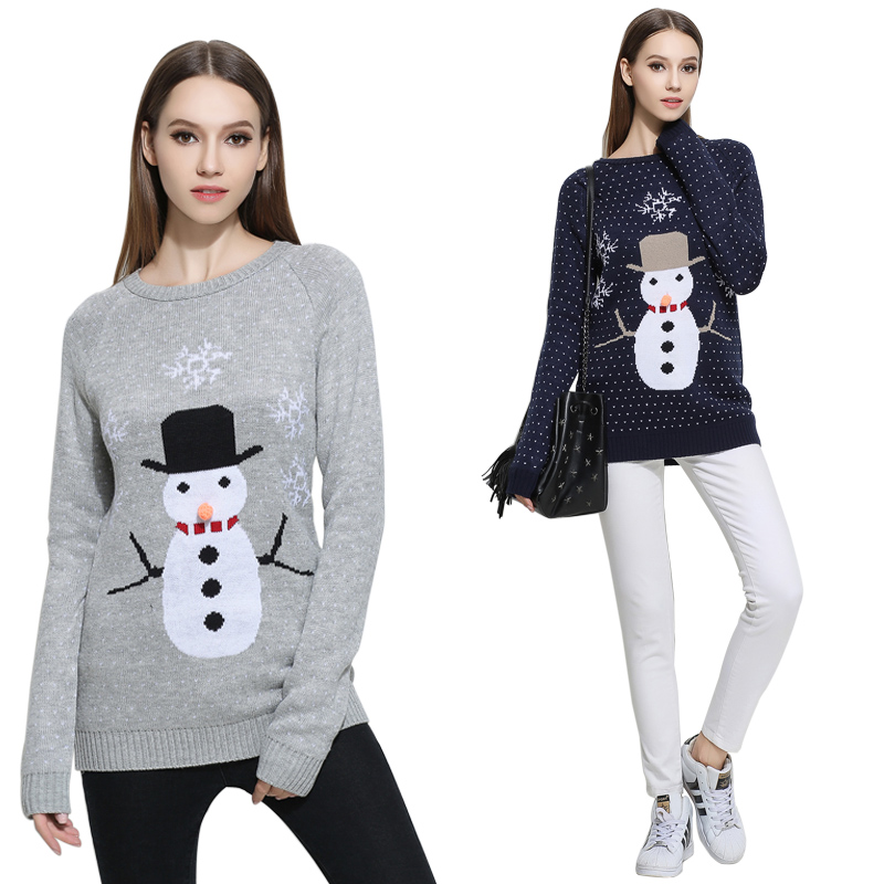 Fashion Winter Casual Loose Long Sleeve Women Sweater Women O-neck Knitwear Pullover Jumper Tops Thick Christmas Sweater