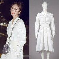 New 2019 Milan fashion week female autumn long sleeve in long white dress to show A word thin elastic waist