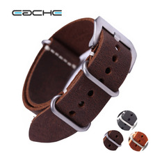 EACHE High Quality Vintage Genuine Leather NATO Watch Straps Watchband for Military Watch 20mm 22mm 24mm Brush Buckle