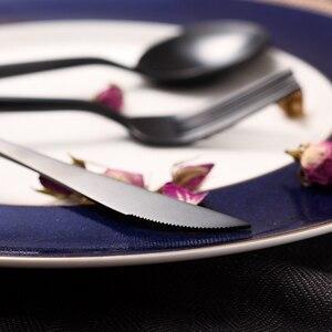 KuBac 2017 Новый 24 шт. черный Леон из нержавеющей стали матовый нож для стейка вилка чайная ложка набор посуды для вечеринок