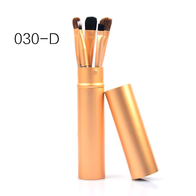 New 5 Pcs Eye Makeup Brushes Set Eye shadow Eye Liner Shadow Brushes Kit Pony Hair Black Makeup Tool With Cup Tube Holder 4