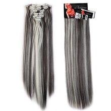 Долго Женщины Леди Прямо 8 Шт. Полный Начальник Ролик в Наращивание Волос Расширение 18 Клипы модули Настоящее Синтетического Волокна Волос