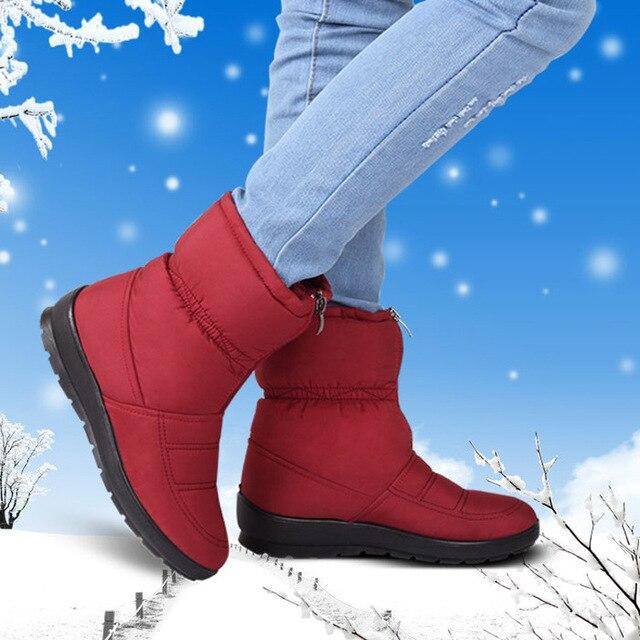 2018 Yeni Çok Soğuk Kadın Kış Çizmeler Su Geçirmez Peluş Anne Kürk Aşağı Çizmeler Kalınlaşmak Sıcak Fermuar Ayak Bileği Çizmeler Feminina Botas