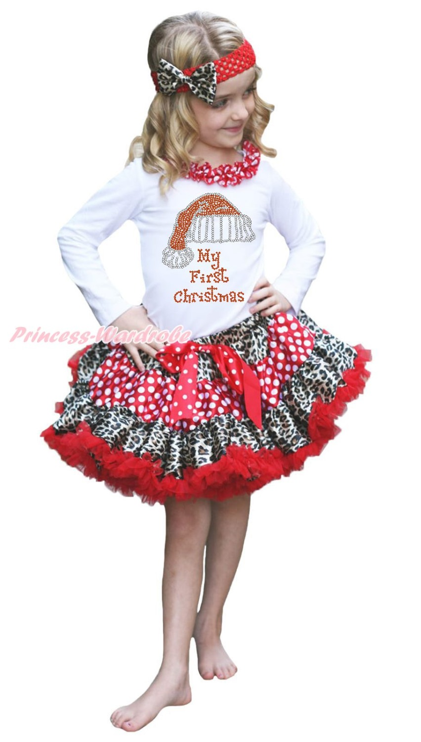 Rhinestone My 1ST Christmas Hat White Top Leopard Minnie Girls Skirt Outfit 1-8Y my christmas cd