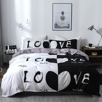 LOVE printed duvet cover set king queen twin full double single size bedding set super soft bed set for home hotel bedding