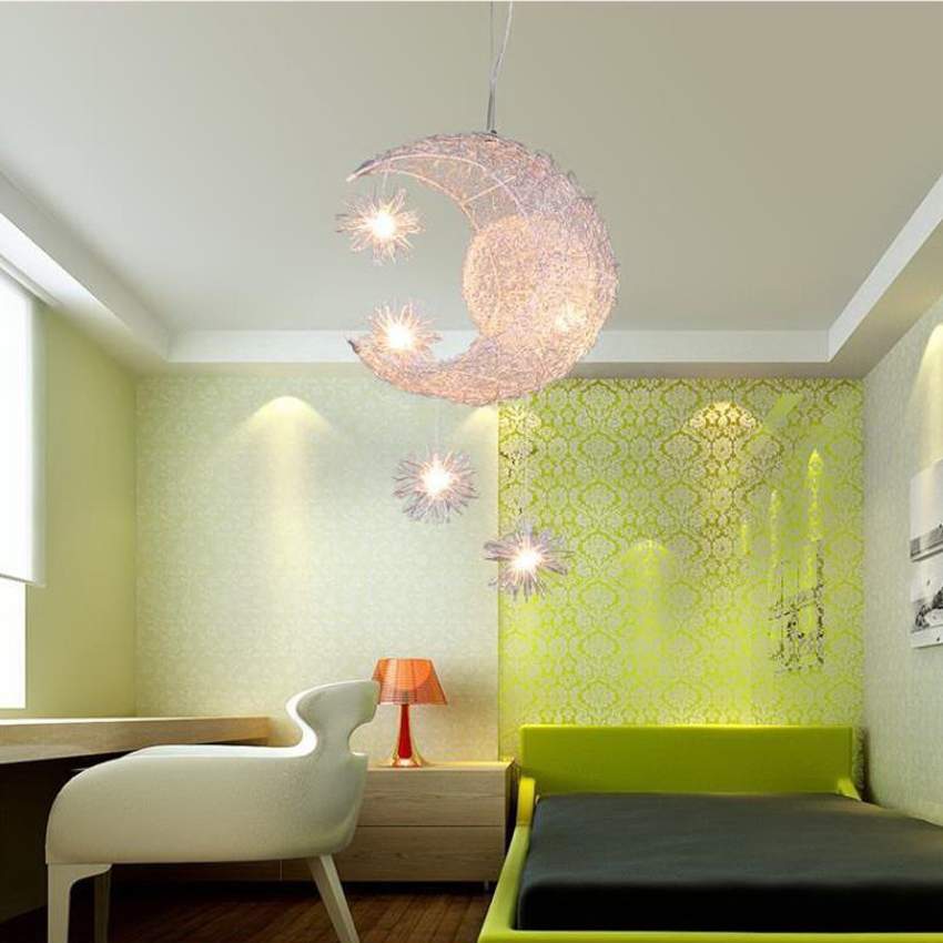 Modern Novelty Moon Star Pendant Lights Children Room Bedroom Study Bar Restaurant Aluminum wire handmade LED suspension lampsModern Novelty Moon Star Pendant Lights Children Room Bedroom Study Bar Restaurant Aluminum wire handmade LED suspension lamps