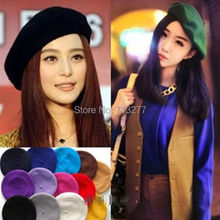 2015 New Fashion Solid Color Warm Wool Winter Women Girl Beret French Artist Beanie Hat Ski Cap Winter Fashion Beanies 16COLORS