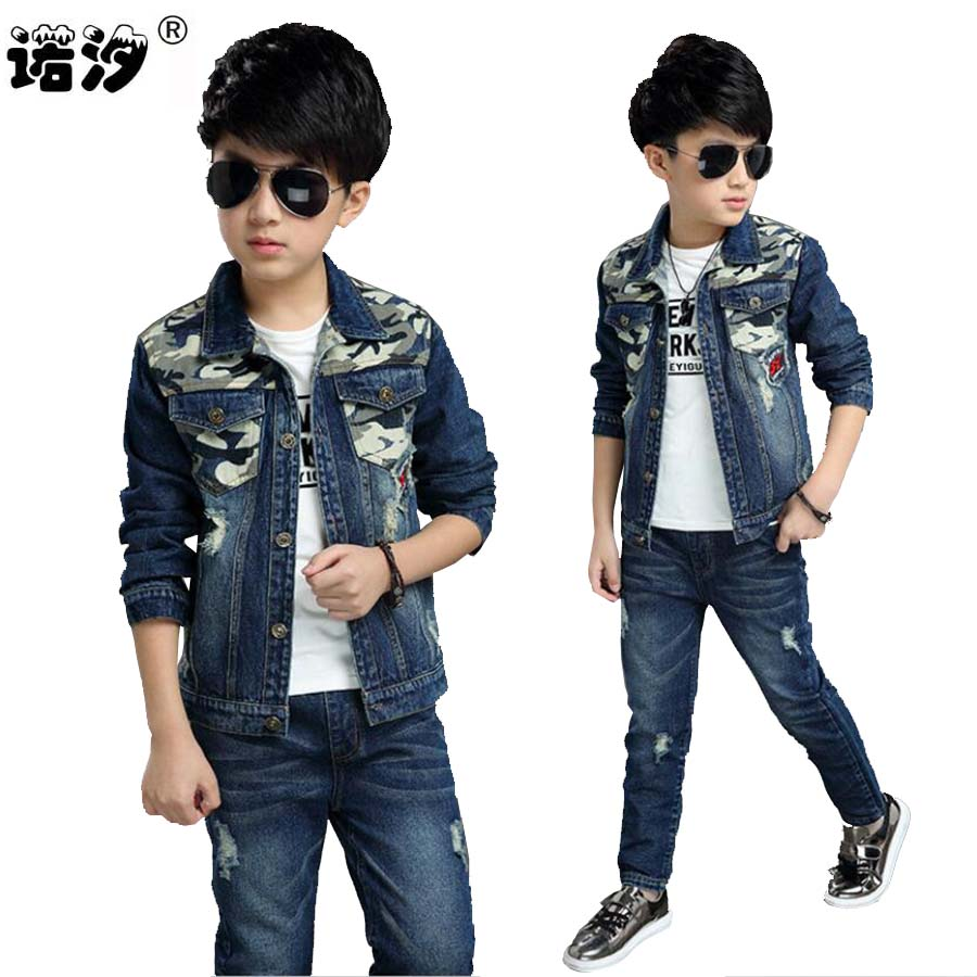 Children clothes baby boys outwear jeans sets child set fashion cowboy jacket spring autumn kids clothes set 4-13 Y girls coat 2016 fashion spring autumn girls suits brand designer flower children set sweatshirts coats jeans t girls 3 sets
