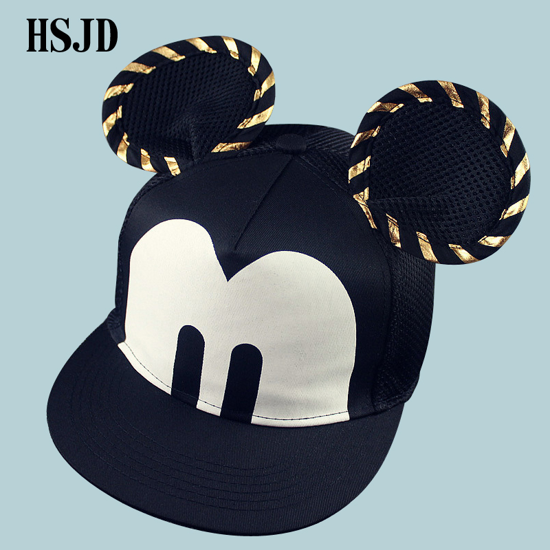 Casual Cute Big Mouse Ears Baseball Cap Snapback Men Women Hip Hop 2018 Brand Unisex Cartoon Adult Mesh Cap Female Male Sun Hat winter unisex knitted wool beanies hat women knit colorful striped hip hop bonnet cap men casual add velvet turban skullies muts