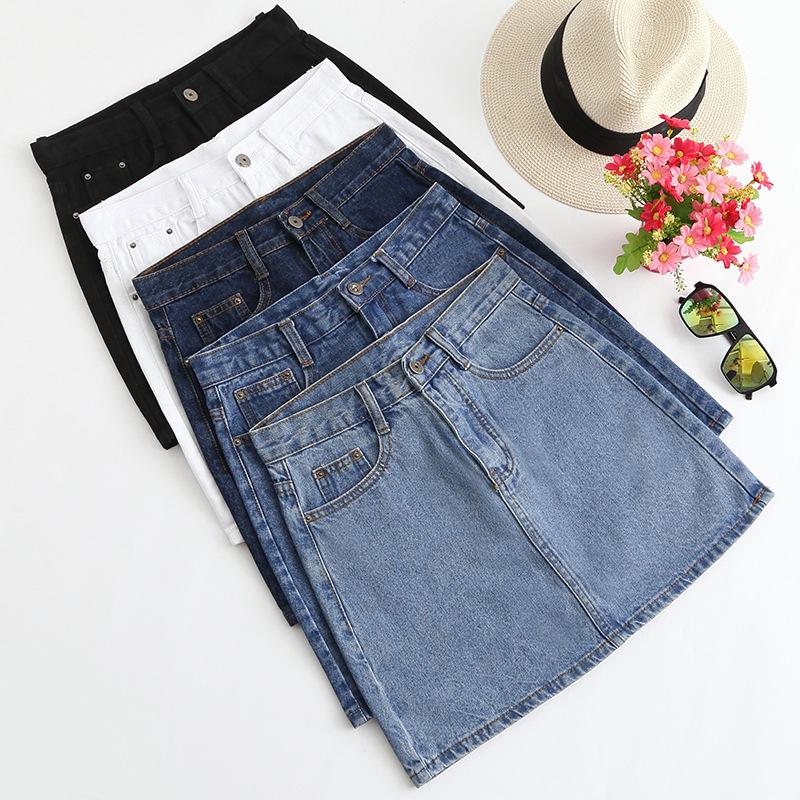Lucyever Fashion Korean Summer Women Denim Skirt High Waist Black Mini Skirts Package Hip Blue Jeans Harajuku Plus Size Cotton 3