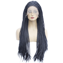 Ombre Synthetic Lace Front Wig For Women Hand Made Long Braided Box Braids Wig High Temperature Black Pink Bug Blue Cosplay Wig pink wig ombre