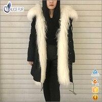 Модные женские черные реальная Монголии Овец Мех животных парка с капюшоном с длинным рукавом теплая зимняя верхняя одежда природа подлинн