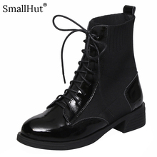 Square heel Boots Genuine Cow Leather Women Autumn Winter Patchwork Ladies E131 Fashion Woman Black Cross-tied Round Toe Boots prova perfetto winter fashion silver ankle boots women cross tied real leather high heel boots square toe zapatos mujer boots