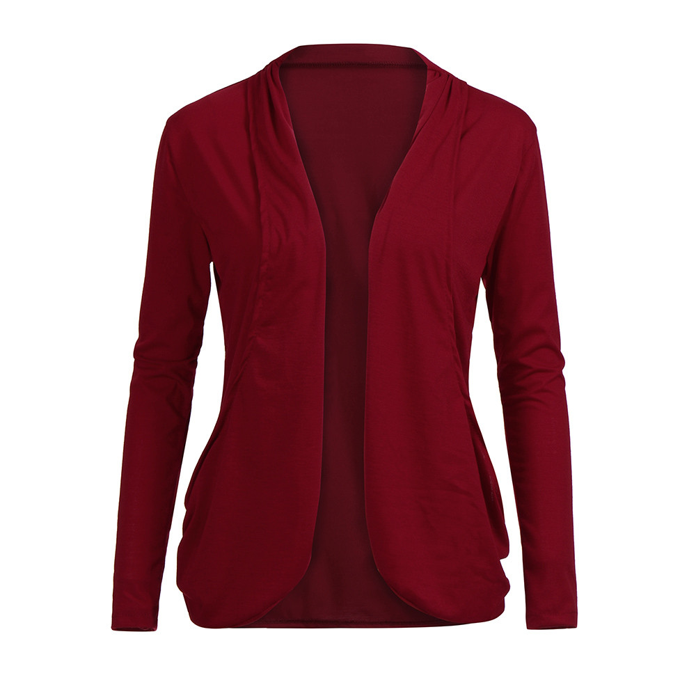 Womens Open Front Fly Away Cardigan Sweater Long Sleeve Plus Pockets Loose Drape