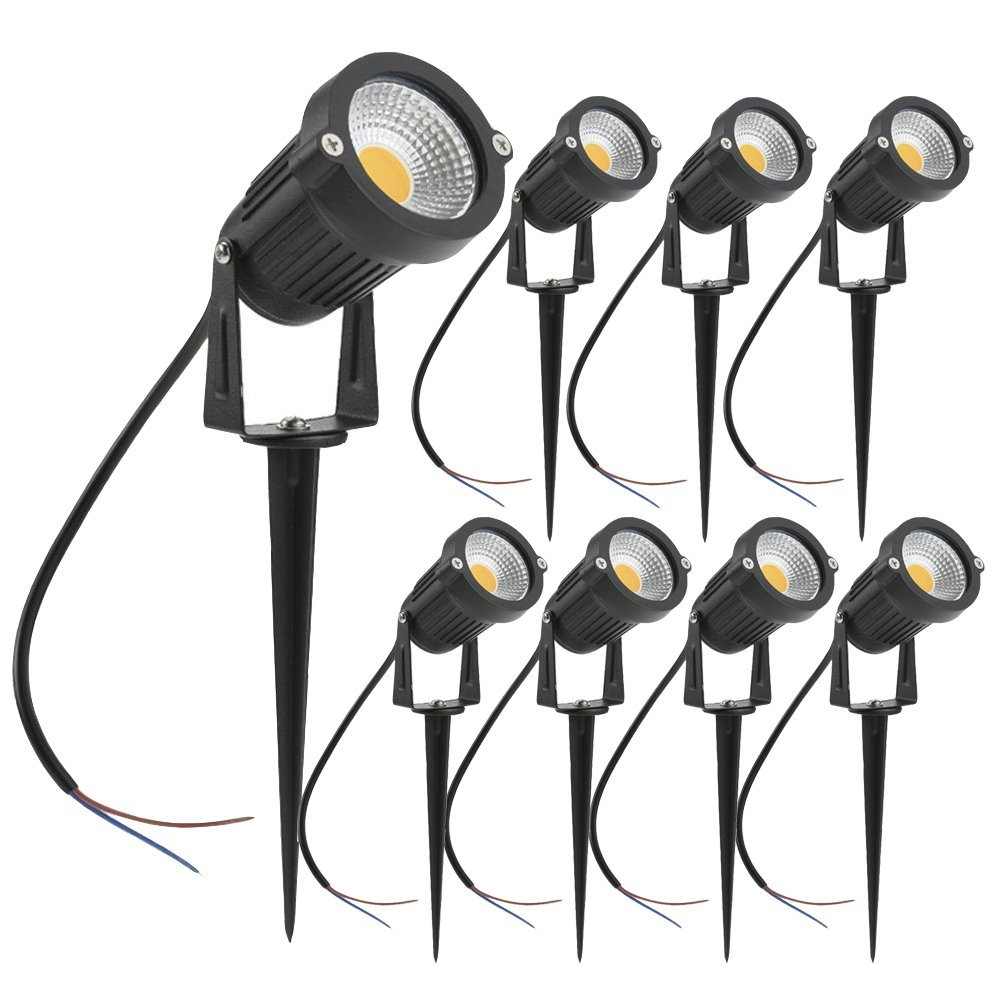 4pcs 5W LED Landscape Lights 12V  Waterproof Garden Pathway Lights Walls Trees Flags Outdoor Spotlights With Spike Lawn Lamps