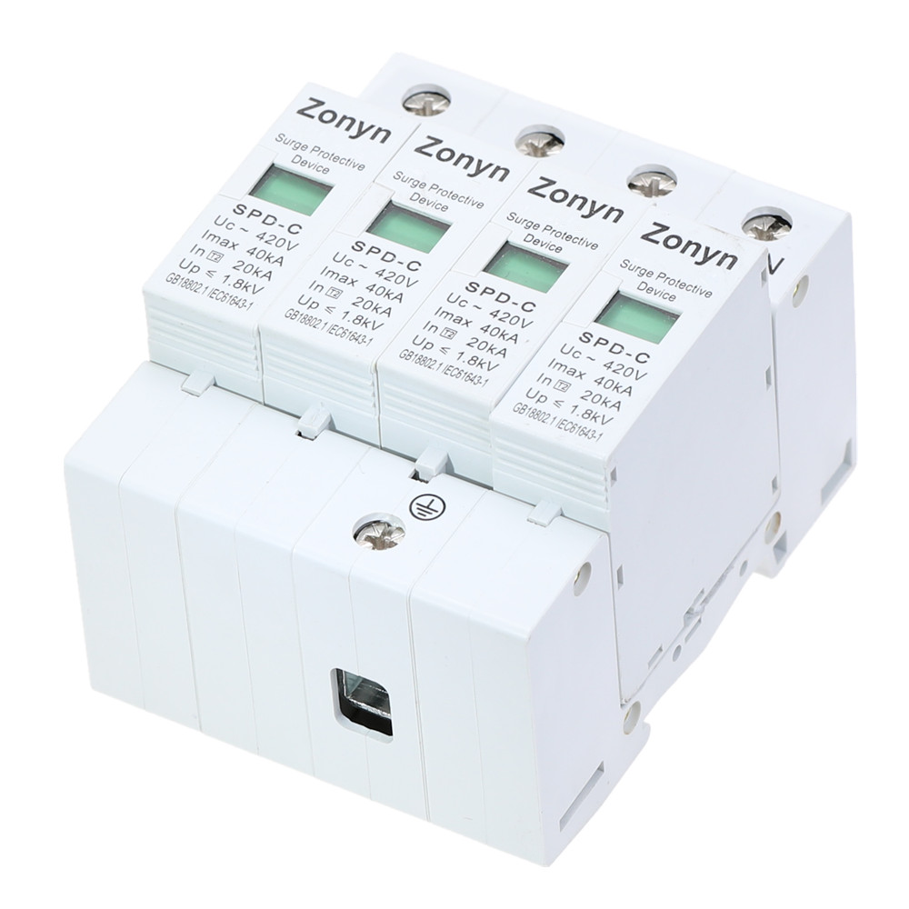 High Quality 4P SPD 420V 20KA~40KA House Surge Protector Protective Low-voltage Arrester Device 3P+N