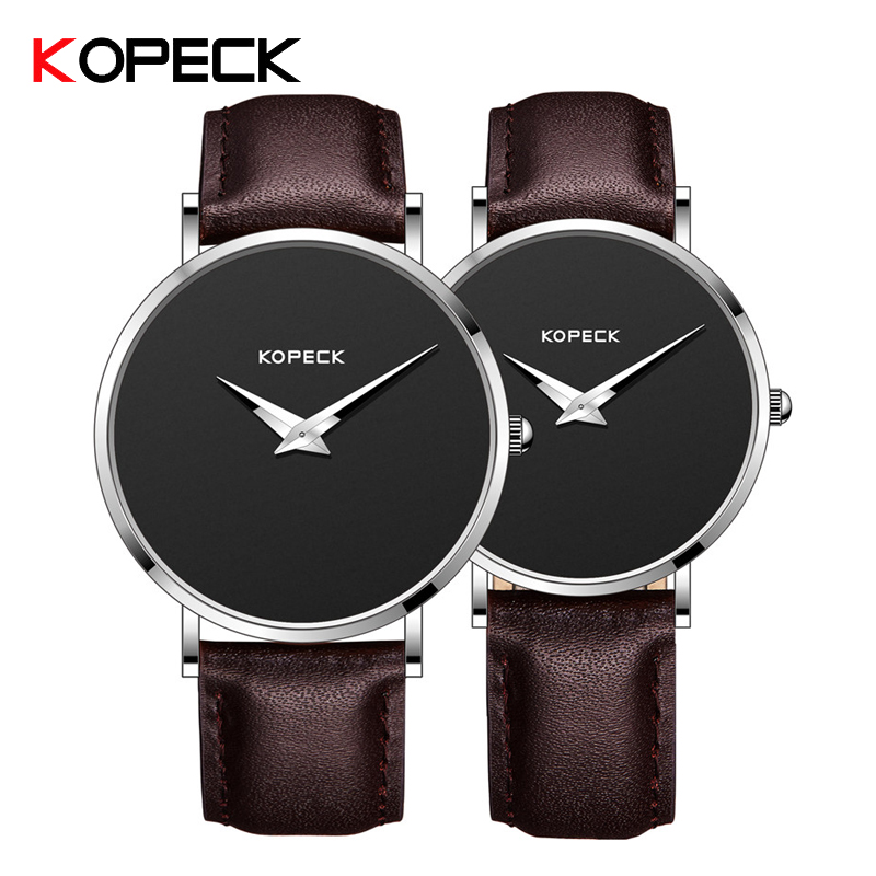 KOPECK Fashion Couple Watch Men Women Quartz-Watch Luxury Leather Lover's Watches Fashion Simple Ultra Thin Watch Paar Horloges