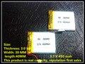 3.7 V bateria de polímero de lítio 303040 veículo viajar gravador de dados de 450 mah estéreo bluetooth 033040 pedômetro