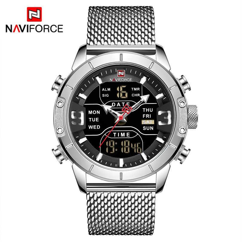 Top luxe marque NAVIFORCE hommes mode sport montres à Quartz LED horloge numérique mâle en acier montre militaire Relogio Masculino