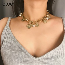 OLOEY Bohomian Womens Necklace Fashion Punk Pearls Alloy Choker Retro Coins Embossed Flower Pattern Necklaces Female Jewelry