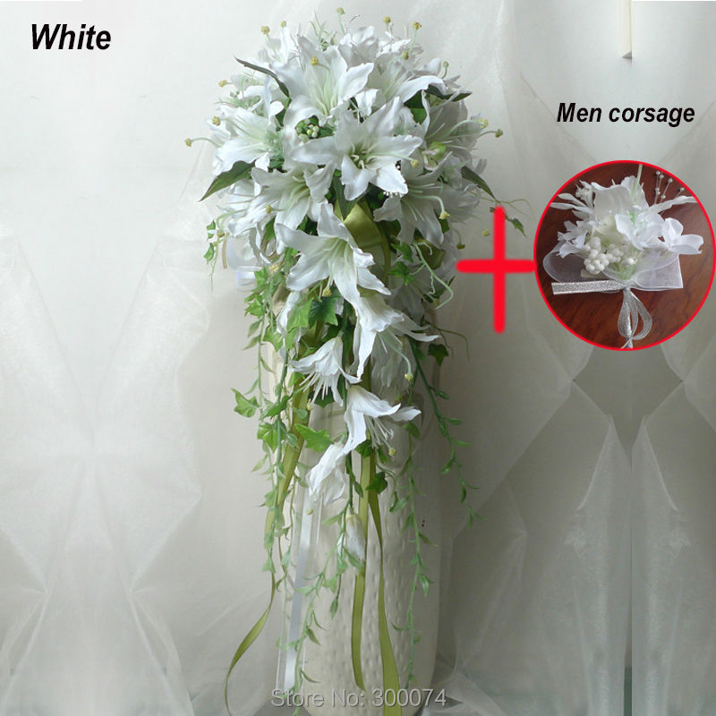 Online 11 Artificial Flowers For A Wedding Large Cascading Waterfall Bouquets White Lily Flower Bouquet Of Bride Silk Aliexpress