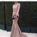 2016 Hot! Saudi Arabia Dubai Muslim Evening Dresses Mermaid Sheer Long Sleeve Lace Prom Party Gowns Vestidos De Fiesta