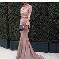 2016 Hot! arábia Saudita Dubai Muçulmanos Vestidos de Noite Da Sereia Sheer Manga Comprida Lace Prom Party Vestidos Vestidos De Fiesta