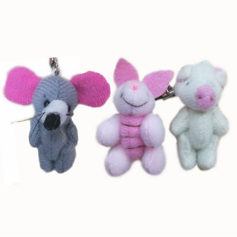 4cm x100pcs Tiny Lovely Plush Pink Pigs Gray Mouse Jonited Pigs Stuffed Cerdo Animals Craft Doll