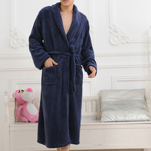 Сгустите банный коралловый фланель халаты ночная халат рубашка повседневная длинным пижамы