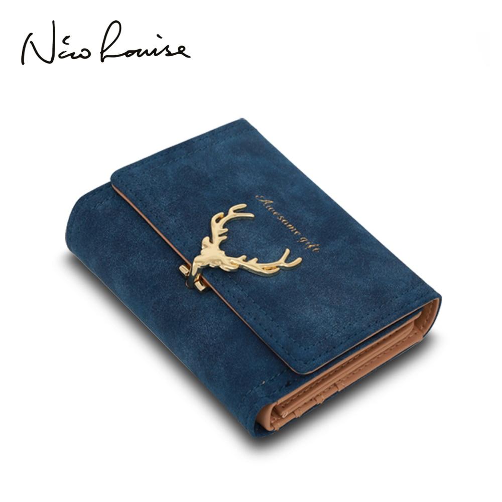 2018 Latest Christmas Deer Women Leather Wallet VintageTri-Folds Luxury Cash  Purse Girl Small Black Clutch coin purses holders