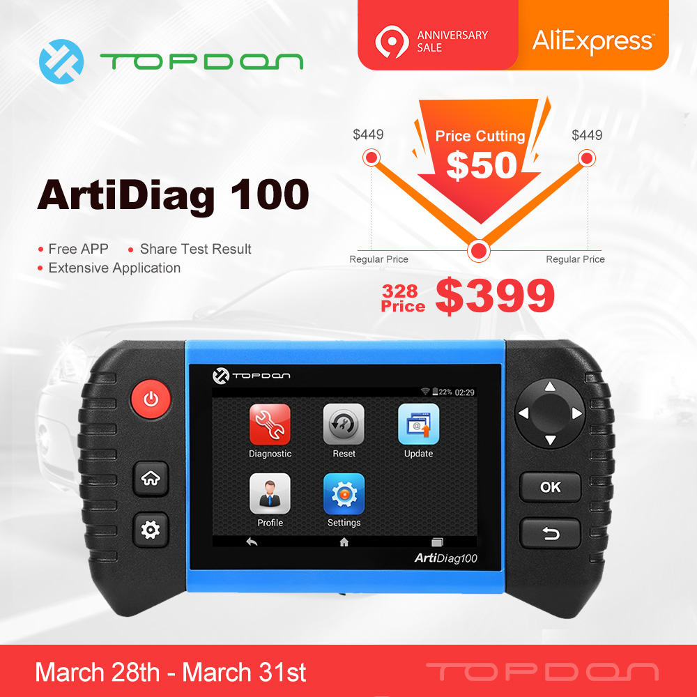TOPDON ArtiDiag 100 Car Auto Diagnostic Tool Professional Full System OBD2 Scanner Automot