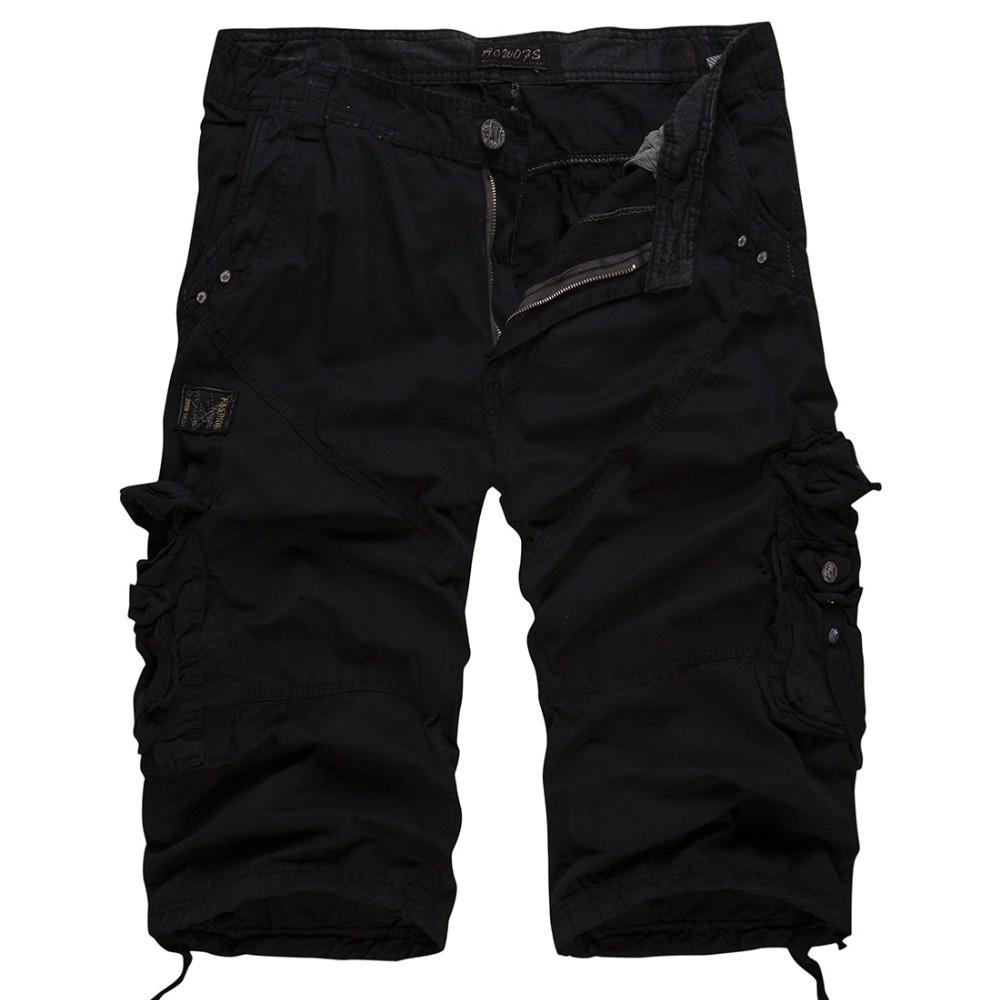 fea6d69a7207 Ouekanlysian Summer Multi Pockets Cargo Shorts Men 90% Cotton Casual Loose Below  Knee Length Army Short Joggers Bermuda Overalls