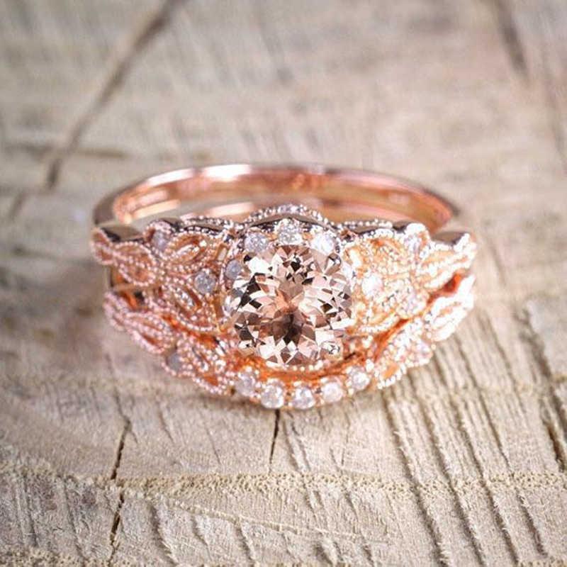 Europa e os estados unidos popular cristal de duas peças zircão anel de noivado rosa cor de ouro micro embutir zircão jóias