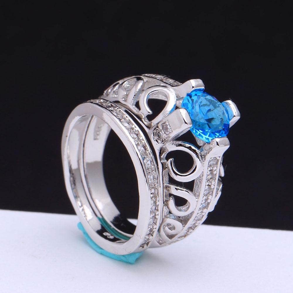 Men Wedding Band Sets Luxury Engagement Jewelry Cheap Large Vintage  Jewellery Light Blue Cz Zircon Rings Sets