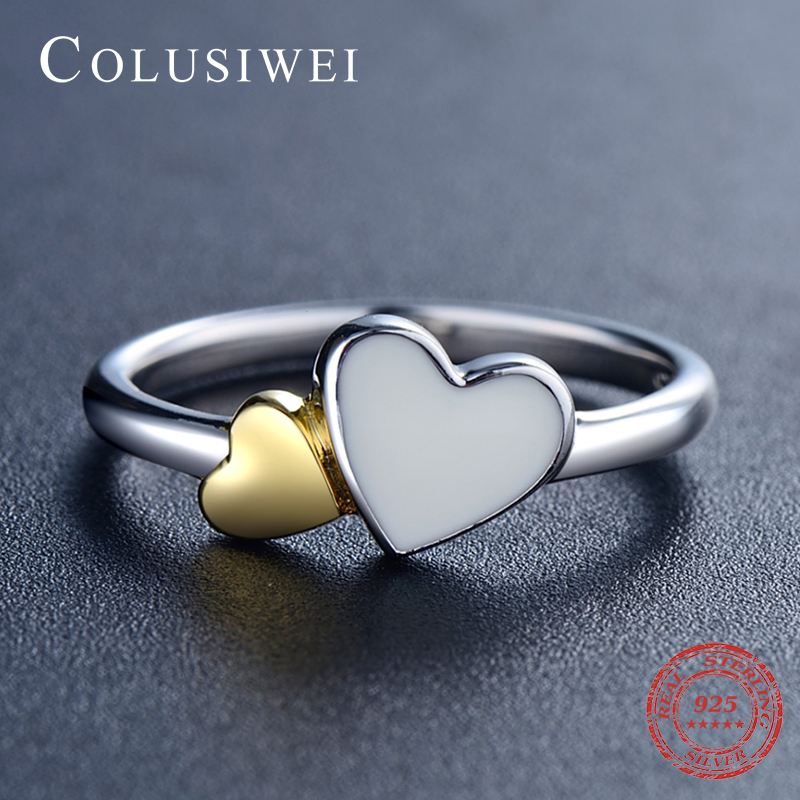New Jewelry Quality Fashion 925 Sterling Silver Hearts Rings Classic Romantic Double Heart Pure Real Silver Ring For Women