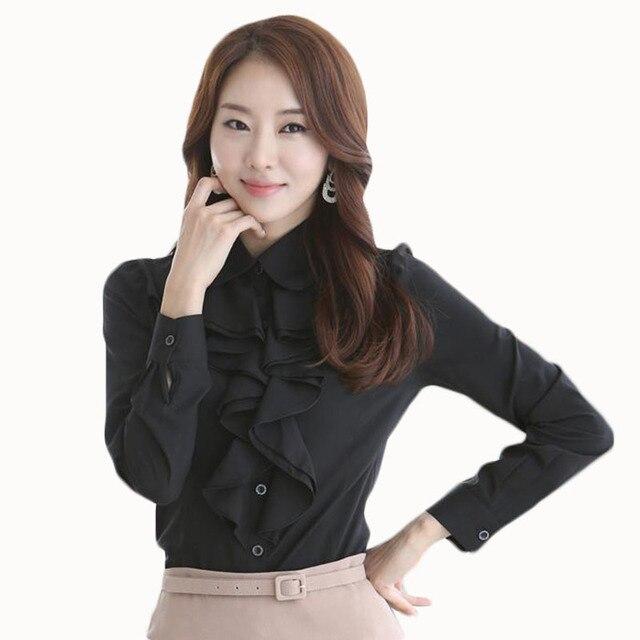 free shipping e1a67 7e632 US $13.5 |2017 Nuovo Arrivo Cotone Womens Shirt Stile Coreano Donne Ufficio  Camicetta Elegante Manica Lunga Bianco Camicetta Nera Camicia Body in 2017  ...