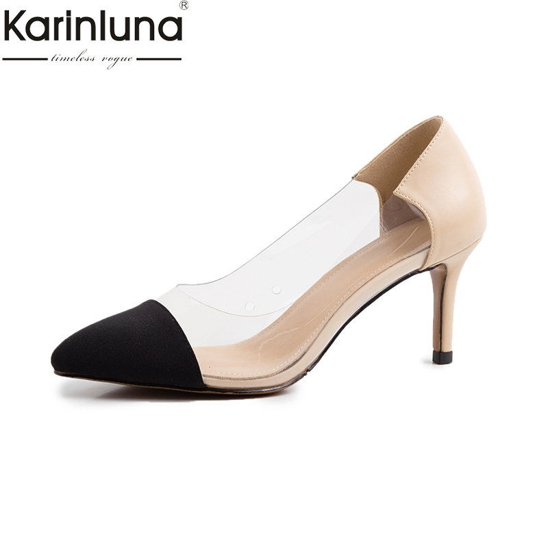 KarinLuna Pointed Toe Genuine Leather Sexy Thin High Heels 2019 Brand New Chic Style Mature womens Pumps Fashion womens ShoesKarinLuna Pointed Toe Genuine Leather Sexy Thin High Heels 2019 Brand New Chic Style Mature womens Pumps Fashion womens Shoes